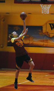 Westmont senior forward Susie Sternard goes up for a lay-up during practice on Friday, Nov. 2, 2012. Staff photo by Matthew Piechalak