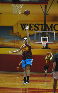 Westmont senior forward Amanda Anderson puts up a shot from the free throw line during practice on Friday, Nov. 2, 2012. Staff photo by Matthew Piechalak