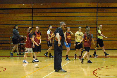 Westmont head coach Mike McCord goes over a drill during practice on Friday, Nov. 2, 2012. Staff photo by Matthew Piechalak