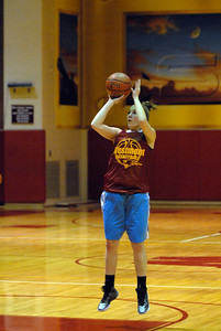 Westmont senior forward Amanda Anderson puts up a jump shot  during practice on Friday, Nov. 2, 2012. Staff photo by Matthew Piechalak