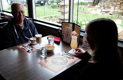 "Kyle Grillot - kgrillot@shawmedia.com   Paul Garven of Lindenhurst and Marueen Wdowick of Fox Lake sit down for a meal during the Breakers Restaurant  re-opening Friday, 3 months after a car ran into the restaurant. The accident caused significant damage to the kitchen as well as the exterior part of the building. ""We love the food, we love the service, this is our favorite restaurant,"" said Wdowick, ""We've been waiting for this, we come here regularly."""