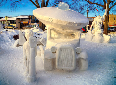 Alien parking. Lake Geneva snow sculpture.  Photographer's Name: busterp Peterson Photographer's City and State: Hebron, IL