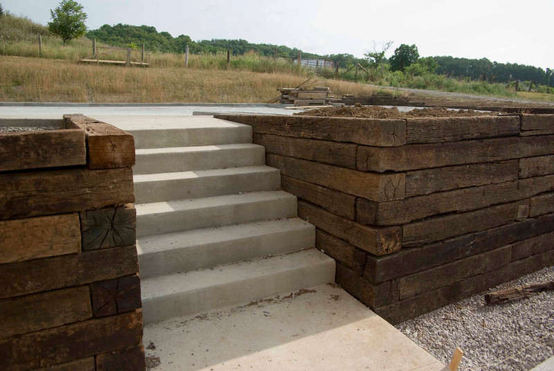 Stairs from lower parking lot to upper parking lot.