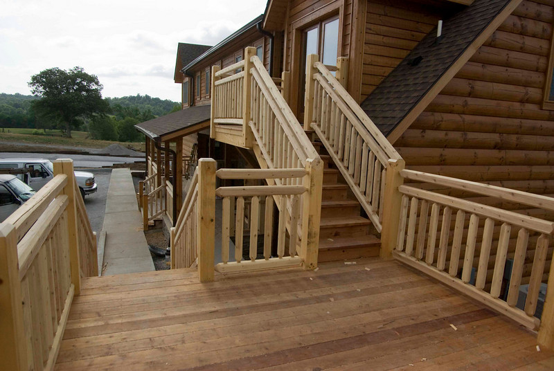 View of stairs from deck.
