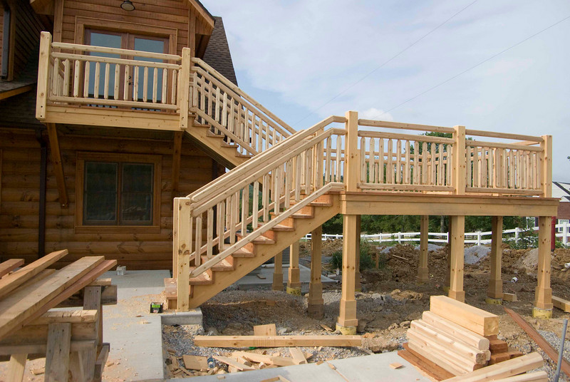 Stairs to deck and balcony.