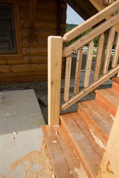 Bottom of stairs to deck.