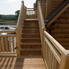 Stairs from deck to balcony.