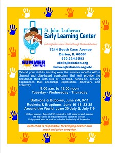 Calling all preschoolers for summer time fun!  Photographer's Name: St. John Lutheran Church Photographer's City and State: Darien, IL