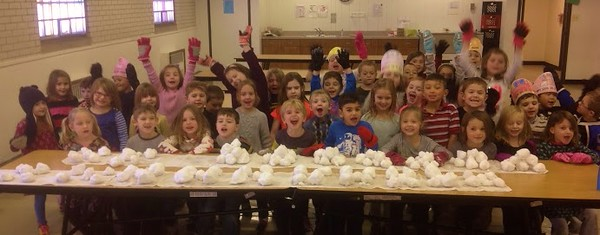 100 snowballs made by Kindergarteners at St.Francis Xavier on 100th day of school  Photographer's Name: Jennifer  Courier Photographer's City and State: LaGrange, IL