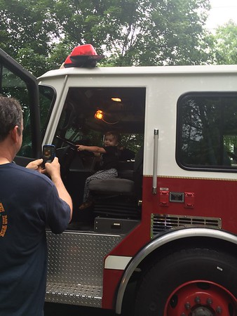 In the fire truck at the block party!  Photographer's Name: Sue Ewing Photographer's City and State: Crystal Lake, IL