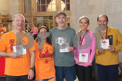 Northern Illinois University College of Law held its fifth annual Race NIjUdicata: 5K Run/Walk and BBQ on Saturday, April 12, 2014.  Pictured (from left) are Dean's Team members Brian D. Moore ('92), Dean Jennifer Rosato Perea, Professor Mark Cordes, Kate Guensburg (3L), and Professor Robert Jones.  Photographer's Name: Christine  Saba Photographer's City and State: Downers Grove, IL