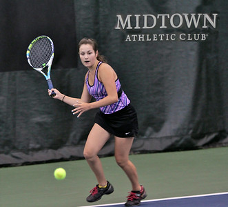 Cary's Bethany Marshall eyes up her next forehand shot during Sunday's championship match against Naperville's Hannah Owens at the USTA Girls 14 Challenger at Midtown Athletic Club in Palatine. Marshall went undefeated throughout the tournament and finished with an impressive 6-1, 6-1 victory to capture the title.  Photographer's Name: Dave Silbar Photographer's City and State: Cary, IL