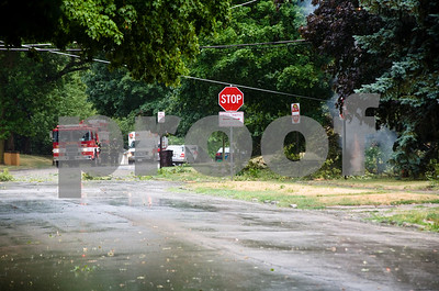 Downed power line on Augusta  Photographer's Name: G. R. Photographer's City and State: dekalb, IL