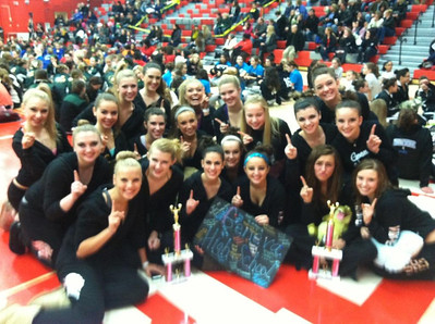 The Geneva High School Varsity Dance Team took first place in both their Open and Lyrical dances at the TDI (Team Dance Illinois) Competition at Naperville Central High School on February 3. The team will  be competing in the state competition in Peoria on March 3, 2013.  Photographer's Name: Ellen Schmid Photographer's City and State: Geneva, IL