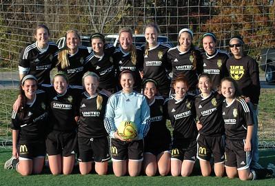 UNITED  SOCCER ACADEMY Wins U18-U19 Championship! United Soccer Academy  U18 Girls Elite White team won the Veterans Invitational Tournament for woman's U18-U19 division in Evansville, Indiana on Sunday November 4th. They overpowered teams from Kentucky and Indiana to win the Championship! Players pictured in the big win were Top Row  (L-R):  Lauren Nyczak, Kate McElherne, Maggie Jablonski, Courtney Mocklow, Sydney Jensen, Becca Nelson, Lauren Krupp and Coach Abby Anderson.  Bottom Row (L-R): Alexi Brandt, Maggie Kilbane, Anne Hardies, Nicole O'Connor, Alexis Carpello, Marissa Meyer, Katie Syregelas, Paige Smiles. Team members not pictured are True Merritt, Erin Maloney and Victoria Tomei.  Photographer's Name: Jim McElherne Photographer's City and State: Hinsdale, IL