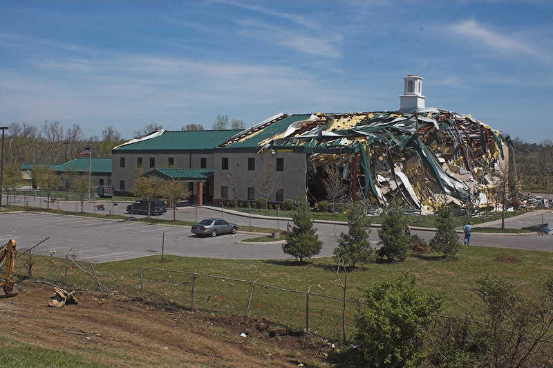 This church was one of the first buildings hit after the tornado touched down. There were 22 children and several adults inside when it hit. They all came through without a scratch.