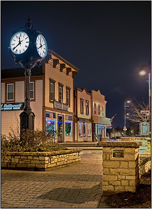A nice night shot of the Lemont Clock in the old town section. Taken, of course, at 11:39 PM  Photographer's Name: Steve Zasadny Photographer's City and State: Lemont, IL
