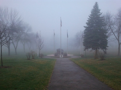 Lombard Veterans Memorial during a foggy morning at the Lombard Commons, DuPage County, Illinois USA  Photographer's Name: Gardenia C. Hung Photographer's City and State: Lombard, IL
