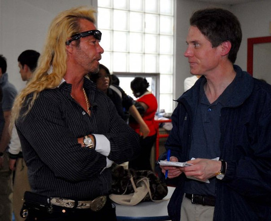 Eric Schelkopf, right, talking to Dog The Bounty Hunter, left.<br /> <br /> Photographer's Name: Eric Schelkopf<br /> Photographer's City and State: Aurora, IL