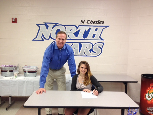 Carly Hudon with Coach Smith signing Letter of Intent to UIS today!<br /> <br /> Photographer's Name: Carly Hudon<br /> Photographer's City and State: St Charles, IL