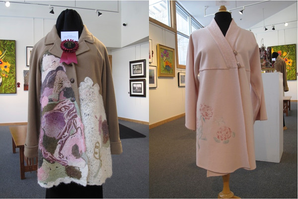 "Hon. Mention: Two coats: ""Spring Blossom"" and ""New Classik"" by Galina Villano<br /> <br /> Photographer's Name: Fine Line Creative Arts Center<br /> Photographer's City and State: St. Charles, IL"