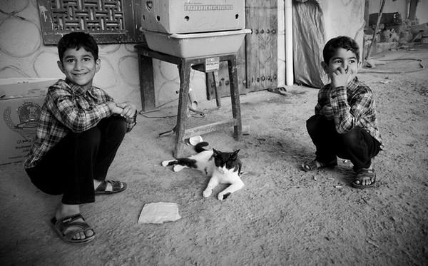 Dois rapazes brincam com um gato no museu da olaria, no Bahrain, alheios ao tumulto político que tem afectado o país no últimos anos.<br /> A revolução árabe começou no Bahrain em 2010 e foi fortemente repreendida pelas forças de segurança. Continuam a existir diariamente manifestações por parte da população Xiita contra o governo constituído por Sunitas.<br /> Embora a maior parte da população seja Xiita, o governo Sunita não admite abdicar dos seus direitos e é fortemente apoiado pela Arábia Saudita, também fortemente Sunita.<br /> 2012