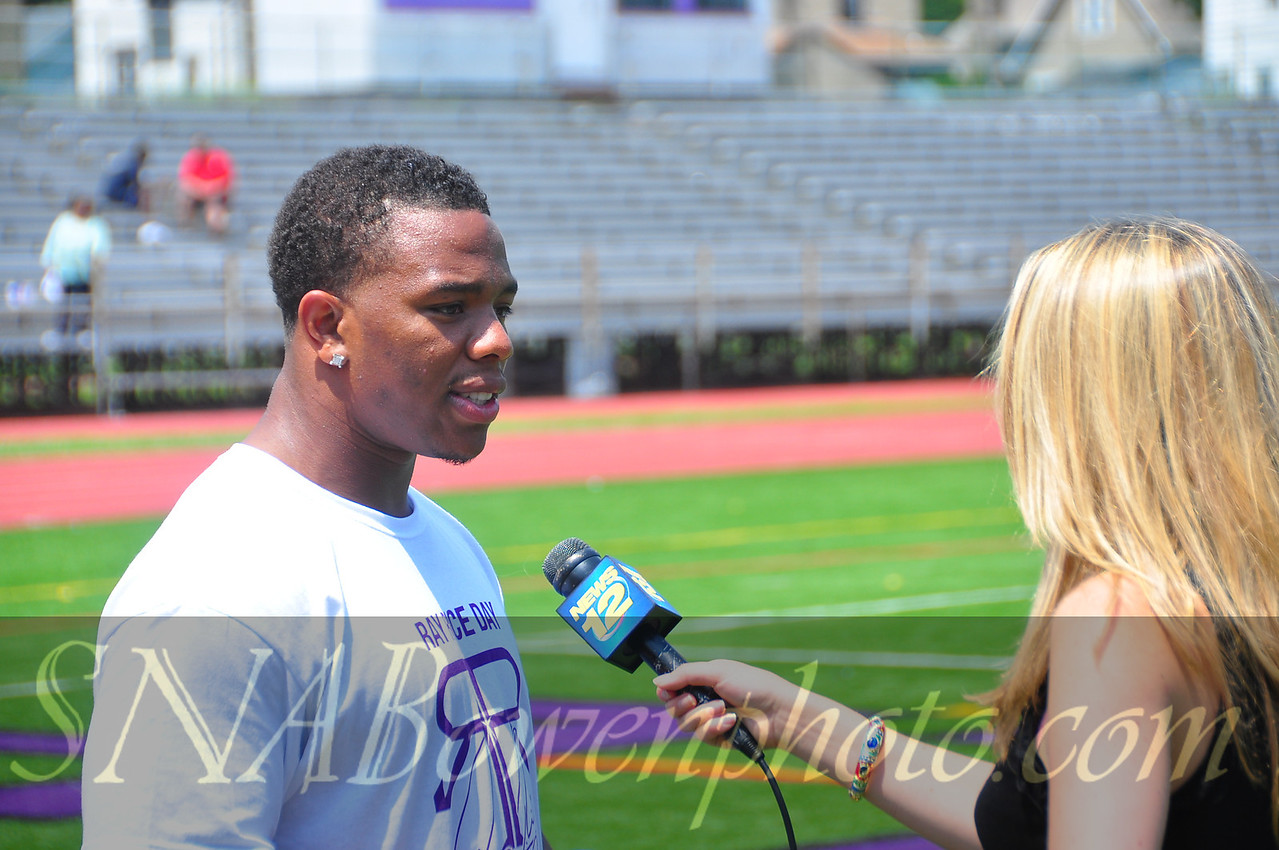 Baltimore Ravens RB Ray Rice at the annual Ray Rice day. June 18, 2011<br /> Location: New Rochelle High School<br /> Interview with channel 12