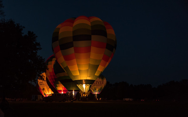 hotair baloon glow at the Marshall county blueberry festival
