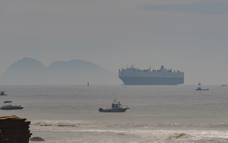 view of Islas Coronado and a container ship from Cabrillo National Monument tidepool