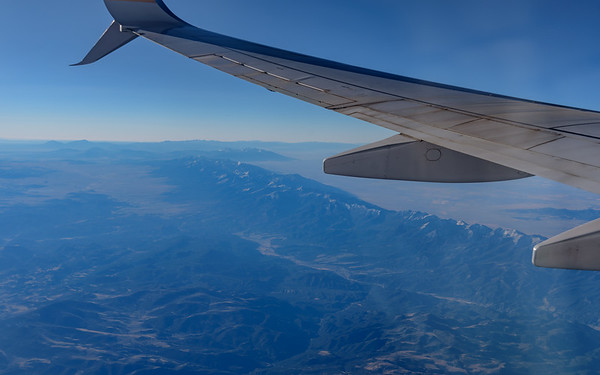 view of Sierra Nevada from flight to San Diego, CA