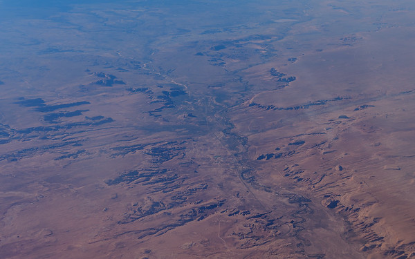 view of american desert from flight to San Diego, CA