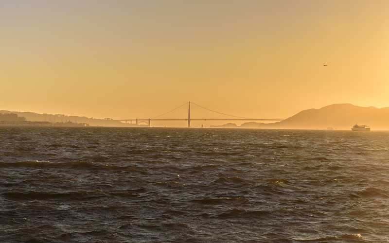 Golden View of Goldengate Bridge from Treasure Island