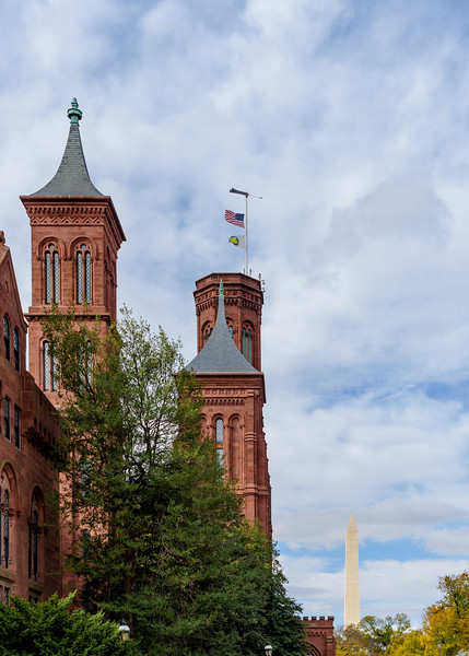view of Smithsonian Castle and Washington Monument in the background