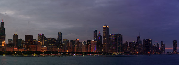 Chicago skyline-Day to Night transition