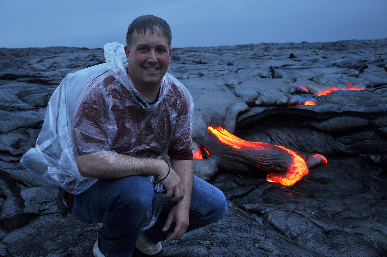 Kevin 3 feet from burning lava near Volcanoes National Park, Hawaii!