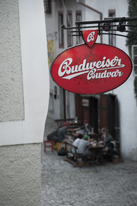 The Budweiser beer they drink here is the original, heartier European version. Very good stuff.