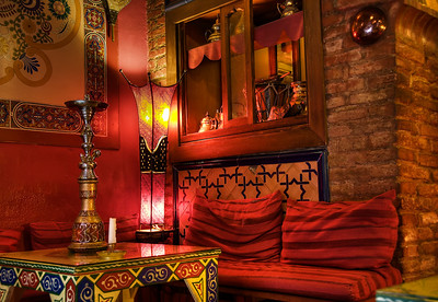 Inside our favorite Moroccan teahouse. A very cozy place.