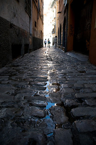The cobblestone streets were fun to explore.