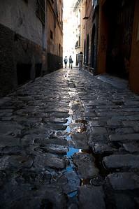 The cobblestone streets were fun to explore.