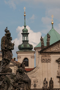 Statues of saints line the Charles Bridge, built in the 14th Century.