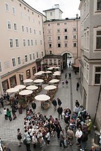 The view from inside Mozart's Geburtshaus (birth house).