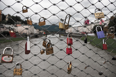 """Lovers Locks"" on the Makartsteg Bridge."