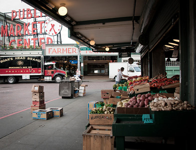 7:29 a.m. at Pike Place Market. The vendors are setting up for the day.