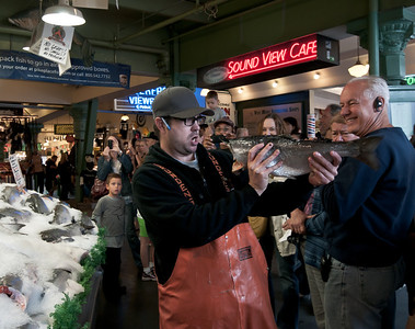 Back at Pike Place Market. These guys have fun selling fish.