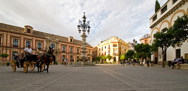 Welcome to Seville. This is the Plaza Virgin de los Reyes, located right near our hotel.