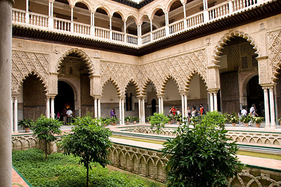 The upper levels of the palace are still used by the royal family as the official Seville residence.