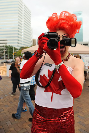Oh Canada.... Pictoria Secret taking a shot of the Bear (Me).  Richmond Gay Pride 2011.