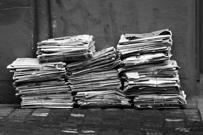 Newspapers waiting to be collected