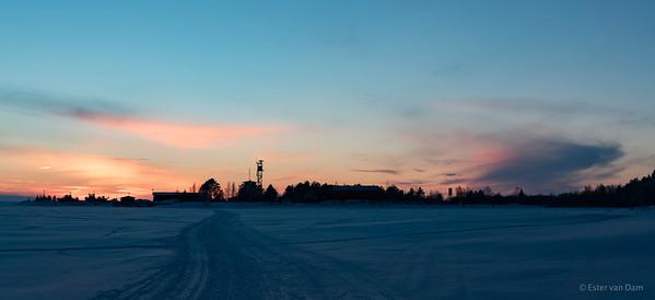 Sunset over Virpiniemi Merivartioasema