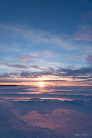 Wintersun setting over the frozen Bothnic Gulf